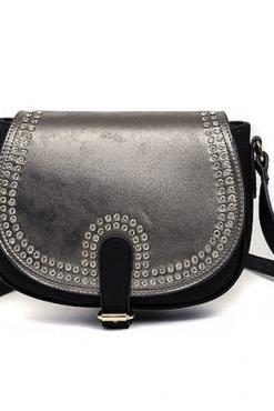 Black PU Saddle Shoulder Bag with Rhinestone Details
