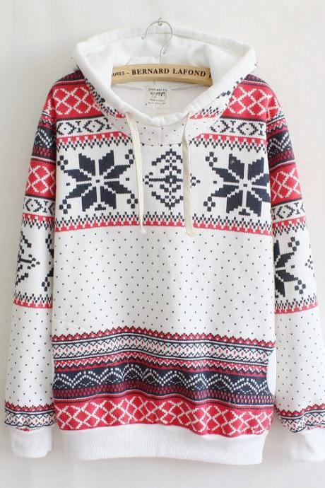 Snowflake-sleeved Hooded Sweater