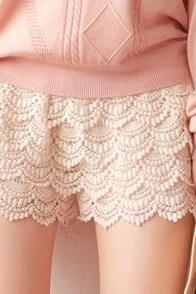 White Sexy Fashion Mini Lace Tiered Short Skirt Under Safety Pants Shorts