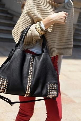 Studded Black Tassel Design Hand Bag