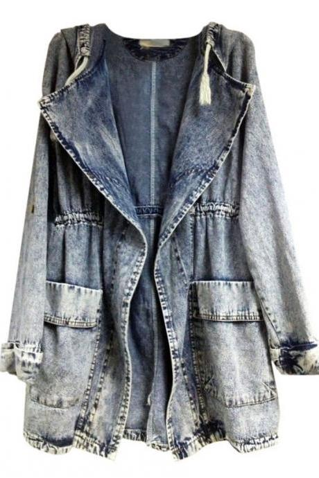 Washed Denim Hooded Jacket