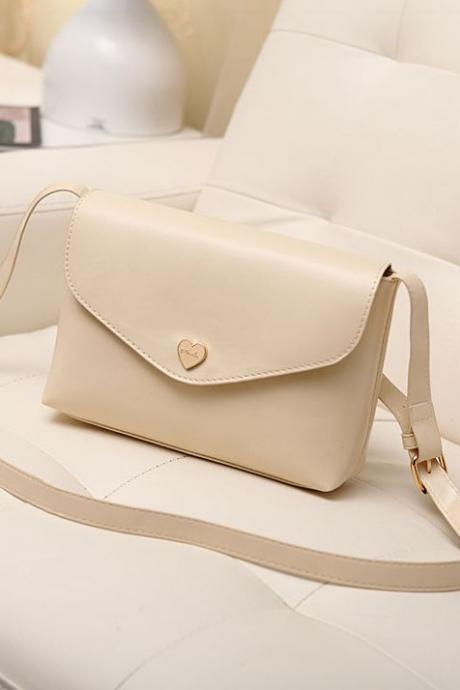 Beige Heart Charmed Shoulder Bag