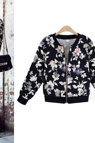 Black Floral Bomber Jacket with Zipper