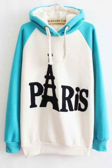Embroidered Hooded Sweater Letters