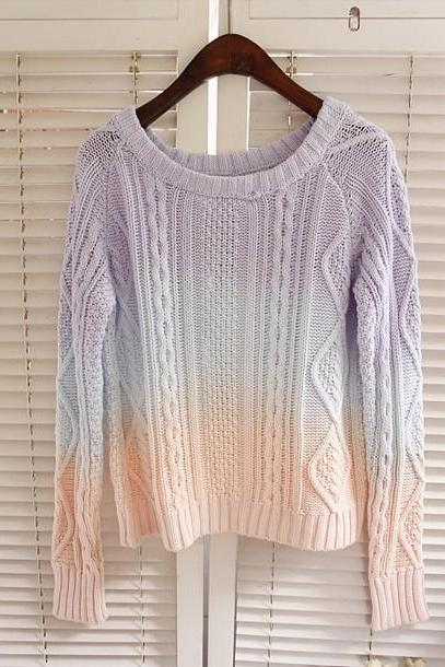 Strip Jumper Sweater Ice Cream Candy Jumper Ombre Sweaters Vintage Women Striped Sweater Knit Shirt (out of sale)
