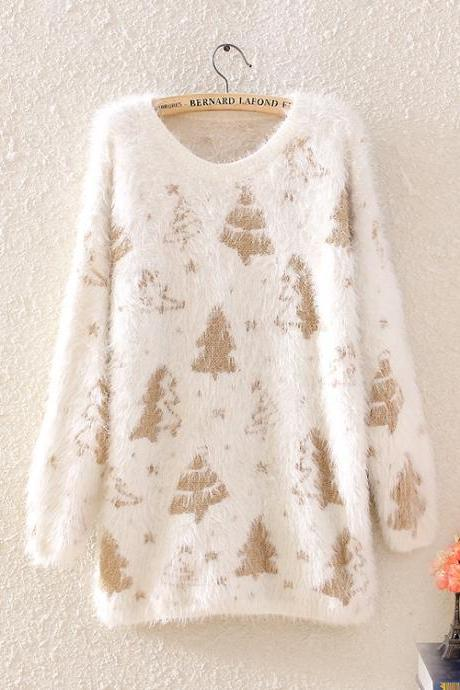 Sweaters For Women New Winter Women The Christmas Tree Loose Soft Round Collar Pullovers
