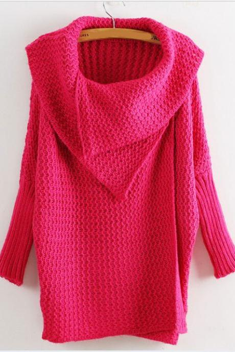 The Large Collar Bat Sleeve Sweater Cardigan Sweater-Rose