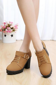 Belt buckle rivet decoration fashion trends fall thick with waterproof high-heeled shoes