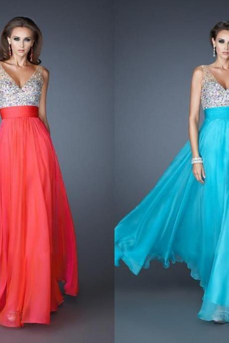 Sleeveless Blue Water Melon White Chiffon Floor Length Sexy Evening Dresses With Crystals