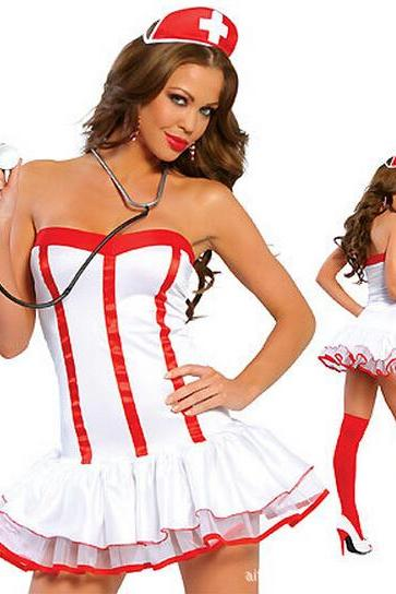 Sexy chest wrapped in Europe and the United States Uniform temptation nurse nurse outfit