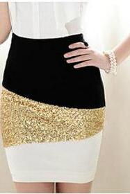 Black And White Mosaic Gold Sequined Skirt AX092803ax