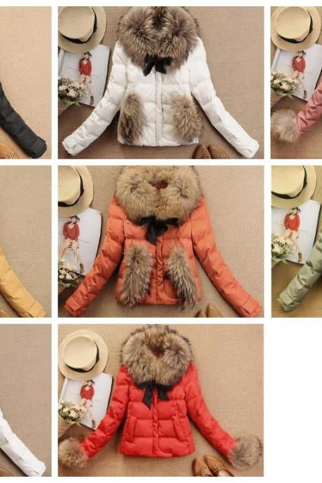 Winter Coat Jacket 7color Luxury Large Raccoon Fur Collar Duck Feather Down Coat Ladies Down Short Jacket Coat YH010