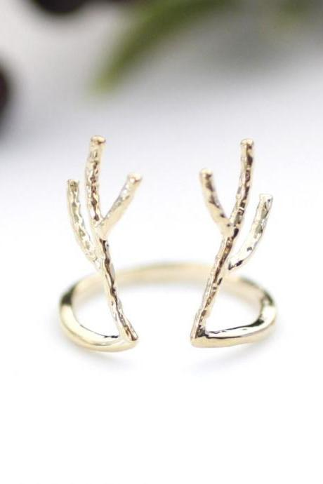 Antler ring, Deer ring, stag ring, horn ring, reindeer ring in Gold