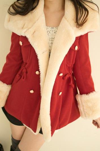 High Quality Long Sleeve Turndown Collar Woolen Coat - Red