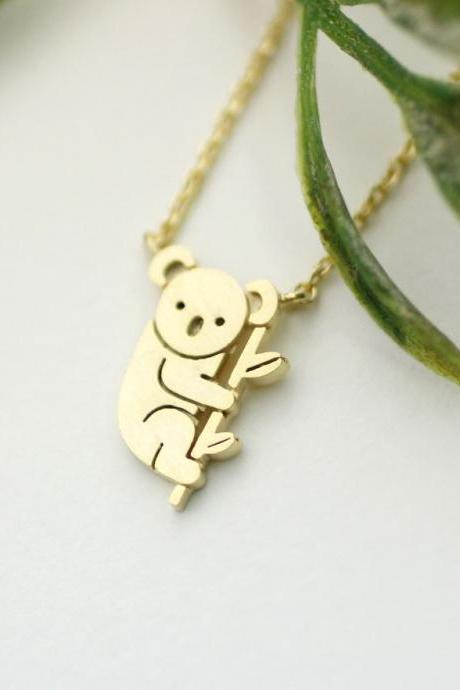 cute and unique tiny Koala pendant necklace in gold