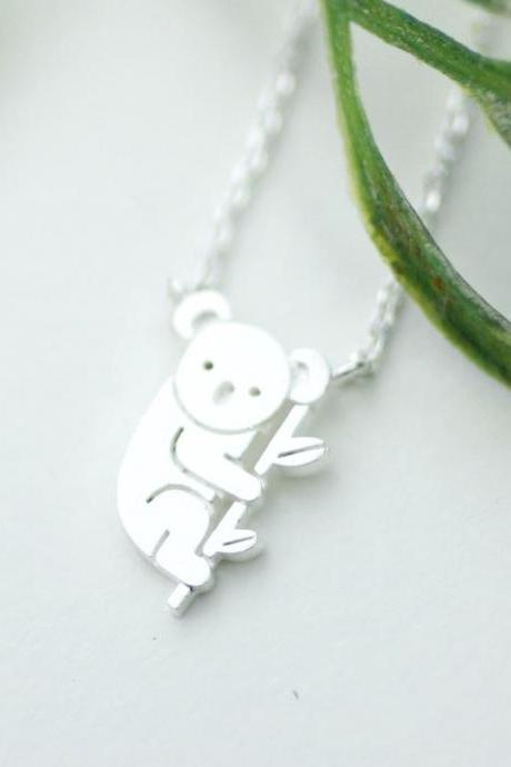 cute and unique tiny Koala pendant necklace in silver
