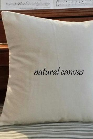 "Hand-made custom size available. 14""x14"" Custom made size, canvas throw pillow cover, natural canvas cover, cushion cover, diy pillow cover, plain canvas pillow case"