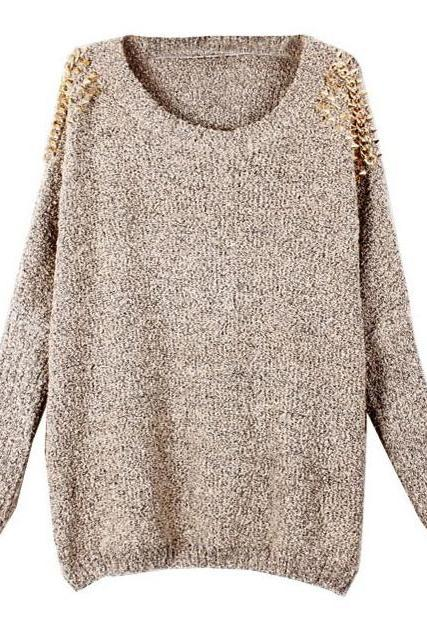 Rivets Shoulder Pullover