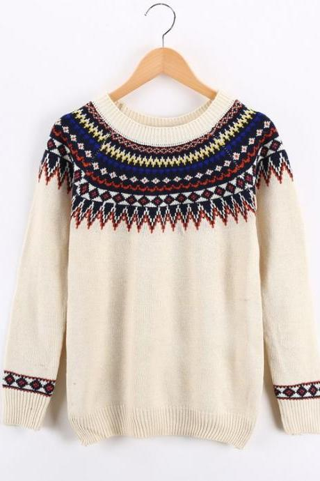 Pullover Sweater With Geometry Print