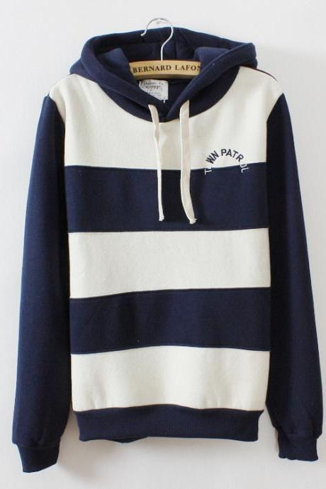 Stripes With Thick Fleece Sweater AD813D