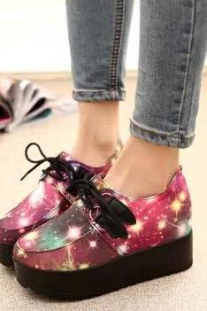 Star and Galaxy Platform Creeper Shoes, Lace-Up Sneakers