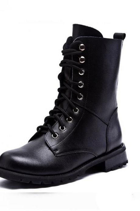 Black Classics Lace Up Leather High Boots 042409