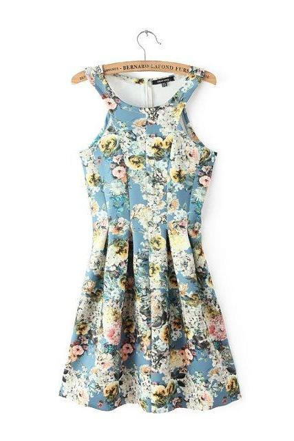 Blue Floral Printed Sleeveless Dress