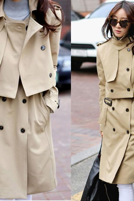 Double Breasted Elegant Khaki Black Trench Coat Jacket Top Two Piece