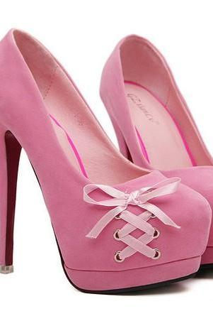 Pink Bow Knot Design High Heels Platform Pumps