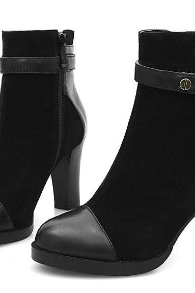 Chunky Heel Ankle boots with Buckles and Side Zippers