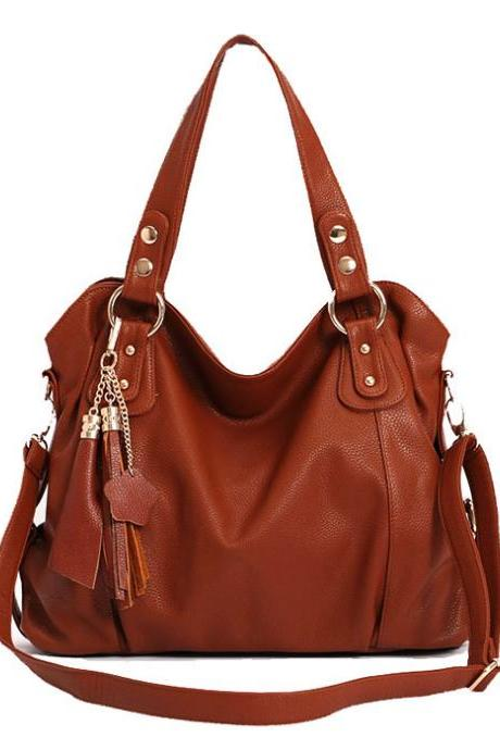 Unique Tassel Handbag & Shoulder Bag-Brown