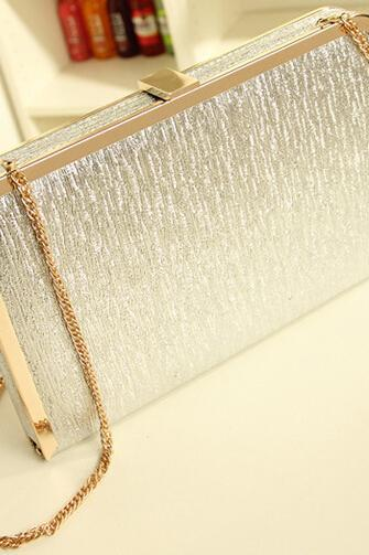 Silver Clutch Hand Bag with Gold Chain