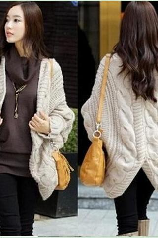 2014 fall and winter women fashion clothes sale bat sleeve cardigan knitting needle shawl ladies thick coat women sweater