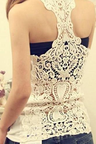 Bottoming Vest Back Lace Crochet