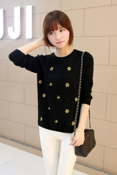 New Autumn Winter O-Neck Long Sleeve Floral Print Knit Sweater Pullovers