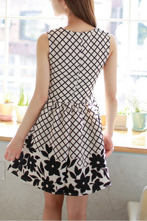 Sweet Style Floral Pattern Dress