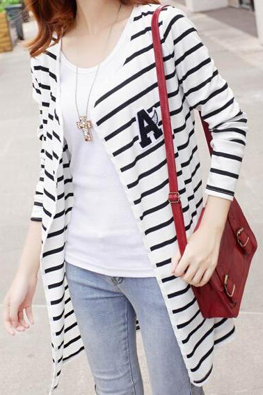 Slim striped cardigan sweater