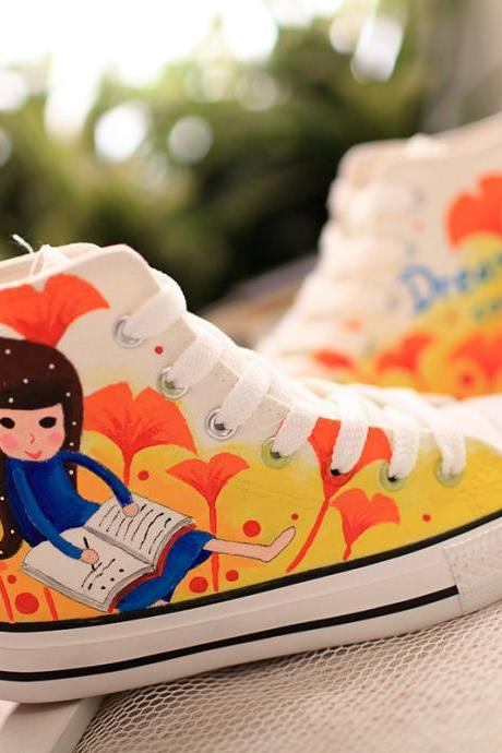Free Shipping Sweet Cartoon Girl Canvas Shoes