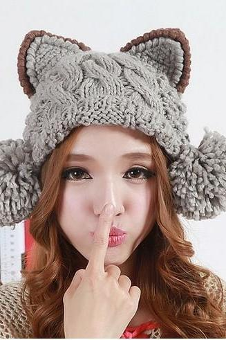 Cute Cable Knitted Warm Meow Hat.Five Colors Available