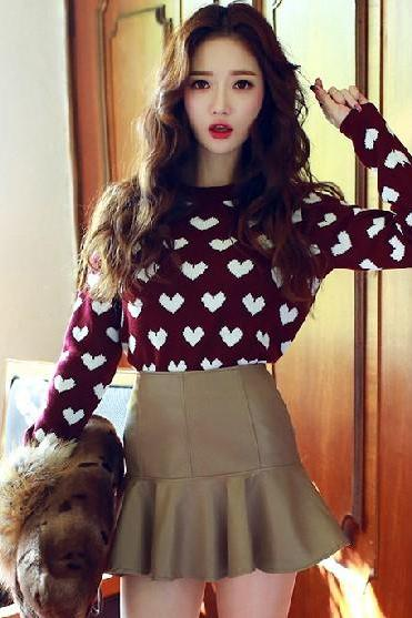 Sweet Sweet Love Cute Round Collar Pullovers