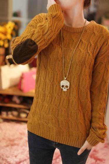 Patch Knit Pullover Sweater