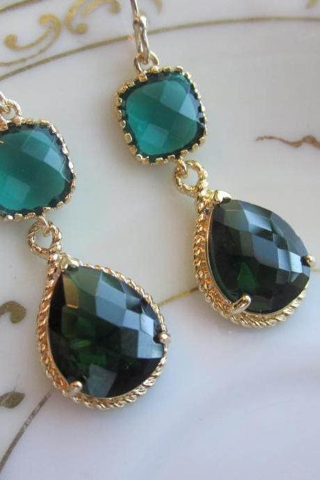 Emerald Green Earrings Gold Pendant Two Tier - Bridesmaid Earrings - Wedding Earrings - Bridal Earrings