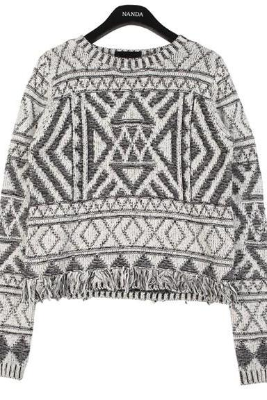 Tassels Geo Cropped Sweater