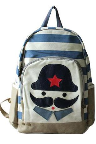 Cute Sweet Stripe Print Cartoon Mustache Print Canvas Backpack
