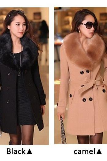 2014 winter women's Double Breasted big fur collar Plus Size Wool Coat long Winter Jackets parka coats Outerwear good quality