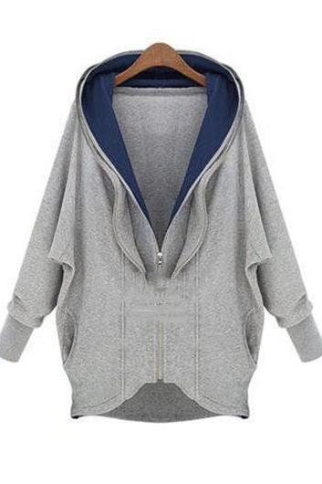 High Quality Causal Long Sleeve Zipper Closure Hooded Coat - Grey