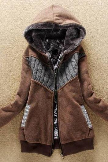Fashion New Arrival Hooded Collar Woman Coat With Zip - Brown