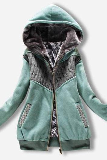 Fashion New Arrival Hooded Collar Woman Coat With Zip - Green