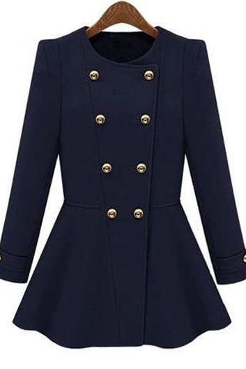 Fashion Round Neck Double Breasted Woman Coat - Navy Blue