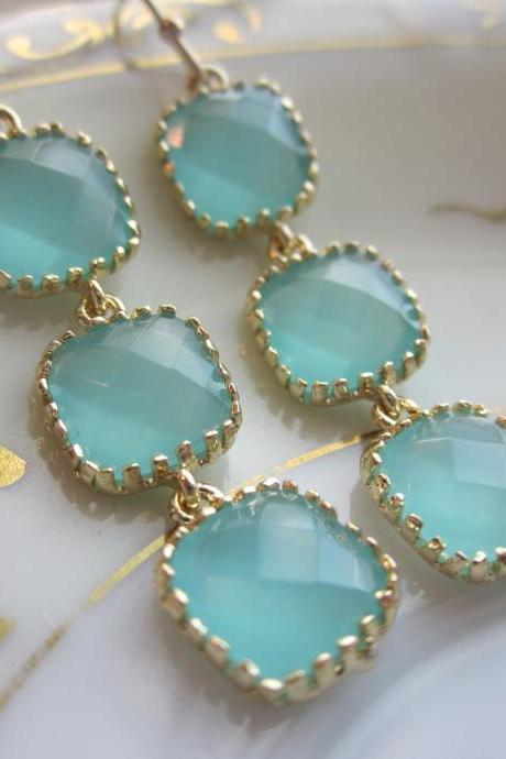 Aqua Blue Earrings Gold Plated - Three Tier Squares - Bridesmaid Earrings - Bridal Earrings